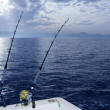 Fishing boat trolling with two rods and reels — Stock Photo