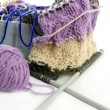 Knitting tools with wool thread balls — Stock Photo #5505983