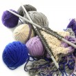 Knitting tools with wool thread balls — Stock Photo #5505988