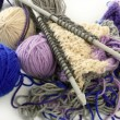 Knitting tools with wool thread balls - ストック写真