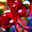 Christmas red shiny balls colorful background - Zdjęcie stockowe
