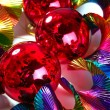 Christmas red shiny balls colorful background — Stock Photo