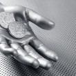 Royalty-Free Stock Photo: Futuristic euro business coin silver hand