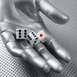 Dices gambling hand futuristic metaphor - Stock Photo