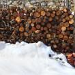 Дрова укладывать в снег зимой Открытый — Стоковое фото