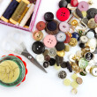 Sewing stuff buttons nails thread scissors — Stock Photo