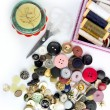 Sewing stuff buttons nails thread scissors — Stock Photo #5506132