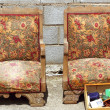Armchairs couple on fair market outdoor vintage - Stock Photo