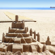 Beach sand castle summer vacation street art - Stock Photo