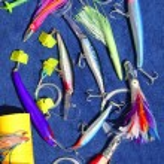 Big game fishing lures hook for tuna marlin — Stock Photo