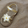 Golden star sandal buried in summer beach sand - Stock Photo