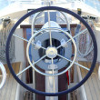 Boat rudder wheel white sailboat detail — Stock Photo