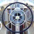 Boat rudder wheel white sailboat detail - Stock Photo