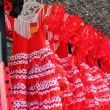 Gipsy red spots dress row typical Andalusia Spain — Stock Photo