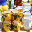 Pottery handcraft jar cup from Mediterranean - Stock Photo