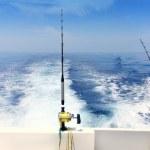 panoramique traîne canne bateau et moulinets mer bleue — Photo