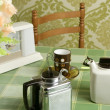Coffee machine retro kitchen green tablecloth — Stock Photo