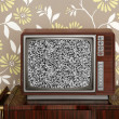 Royalty-Free Stock Photo: Retro wooden tv on wooden vitage 60s furniture