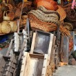 Mexican handcrafts basketry wood carts pinatas - Stock Photo