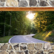 Stone masonry wall window road forest curve view — Stock Photo #5507298