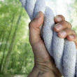 Man hand grab grip climbing green forest rope - Stock Photo