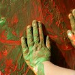 Children artist hands painting multi colors — Stock Photo #5507677