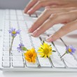 Royalty-Free Stock Photo: Ecology concept of woman hands typing keyboard