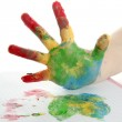 Colorful children hand painted over white — Stock Photo #5507751