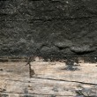 Black paint in wooden boat hull grunge aged — 图库照片