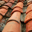 Aged old red clay arabic roof tiles — Stock Photo