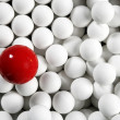 Alone one billiard red ball little white balls — Stock Photo #5508397