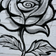Black and white rose street graffiti detail - Stock Photo