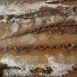 Ice on mud red clay soil road with tyres lines - Stock Photo