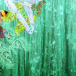 Grunge green color background with butterflies — Stock Photo #5508670