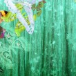 Stock Photo: Grunge green color background with butterflies