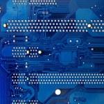 Blue electronics mainboad tech circuit — Stock Photo