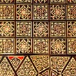 Asian handcraft inlaid mosaic wood box cover - Stock Photo