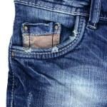 Denim blue jeans pocket detail closeup texture — Stock Photo