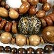 Stock Photo: Africwooden necklaces jewellery texture