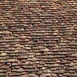 Square roof tiles plain clay pattern weathered — Stock Photo