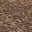 Square roof tiles plain clay pattern weathered — Stock Photo #5508893