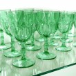 Green cups rows glass crystal kitchenware — Stock Photo #5508938