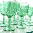 Green cups rows glass crystal kitchenware - Stock Photo