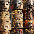 Royalty-Free Stock Photo: Mexican wooden mask handcrafted wood faces