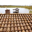 Clay old roof tiles pattern in Spain - Stockfoto