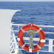 Cruise white boat handrail detail in blue sea - Stock Photo