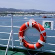 Cruise white boat handrail in blue Ibiza sea — Стоковая фотография