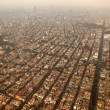 Mexico df city town aerial view from airplane - Stock Photo
