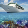 Caribbean reef view with cuise vacation boat - Stock Photo