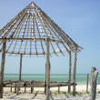 Hut palapa construction wood structure Holbox — Zdjęcie stockowe